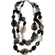 Sophisticated 3 Strand Hand Cut Agate Necklace, Fully Knotted, Sterling Clasp