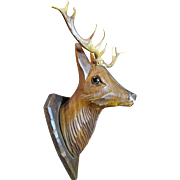 Harris, June, Fun Miniature Carved Wooden Decorative Stag Head
