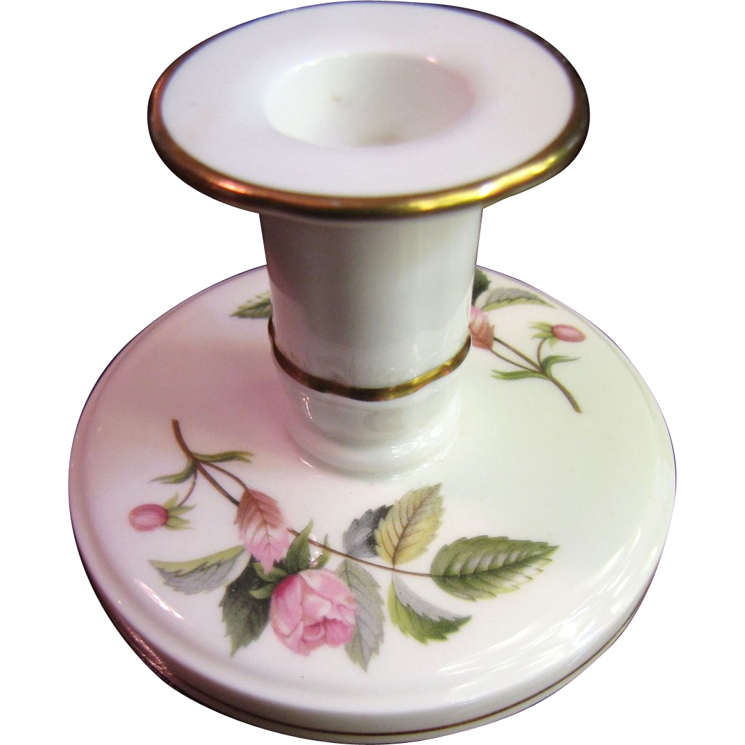 Prettiest Wedgwood Bone China Hathaway Rose Candlestick