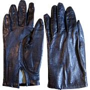 Vintage Size 6 1/2 Black Kid Leather Lined Gloves by Fownes