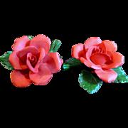 2 Pretty Italian Porcelain Red Roses