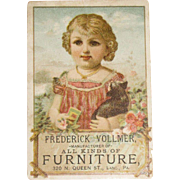 Vintage Girl with Cat and Flowers, Frederick Vollmer, Furniture Manufacturer and Dealer Trade/Advertising Card
