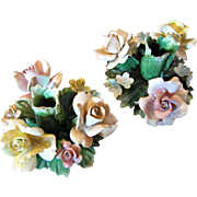 Prettiest Pair of Large Capodimonte Floral Candleholders