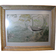SC Watercolor Folk Art Painting of Marsh Bird in the Swamps, Virginia C. Manning