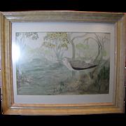 SC Watercolor Folk Art Painting of Marsh Bird in the Swamps, Virginia C. Manning