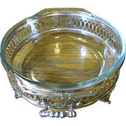 Elegant Vintage Silver Plated Casserole Holder With Pyrex Insert