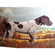 Painting of A Hunting Dog by Wildlife Artist Randy Rust, Acrylic on Board