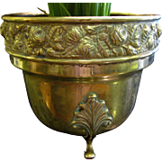 Large Antique English Brass Jardiniere with Paw Feet & Embossed Floral Rim
