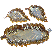 Peach Iridescent Carnival Glass 3 Leaf Dish Set