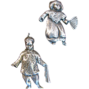 Charming Pair of Sterling Asian Boy & Girl Pins