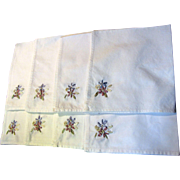 "Eight 16"" Ribbon Embroidered Cotton Napkins, Pretty!"