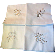 "4 Pretty Vintage 10"" Floral Embroidered Lunch Napkins"