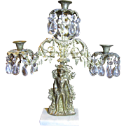 Imposing 19th c American Girandole Three Arm Gilt Candelabra