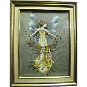 for Harris, Heirloom Quality Vintage Cross Stitch & Beadwork Picture of a Fairy in Gesso Frame