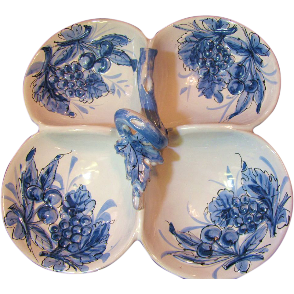 Beautiful Italian Hand Painted Pottery Blue and White Server or Relish Dish