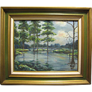 Harris, Sep. Mid Century Oil on Board of Swans in the Bayou by Charis Riedmiller