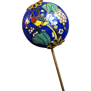 Vintage Cloisonne Bird Design Stick Pin with Gilt Filigree Mounts