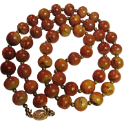 "30"" Vintage Apple Sponge Coral Necklace w/ Gilt Silver Clasp"
