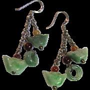 Delicate Three Strand Sterling, Jade & Carnelian Earrings