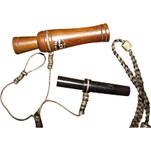 Vintage 3 Call Lanyard, Hand Braided, Camo + 2 Calls: P.S.Olt Co. 77 Wooden Goose Call & Haydel VTM 90 Variable Tone Mallard Call