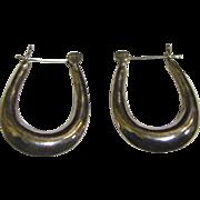 """Classic Sterling Oval Hoop Style 1"""" Earrings, 3 Grams"""