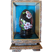 Lovely Cloisonne Egg in Pagoda Style Brocade Display Case