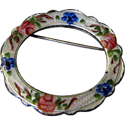 "Delicate Guilloche Rose Enamelled 1 1/4"" Sterling Pin by Lamode"