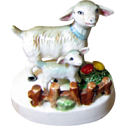 Darling Pair of Matching Lamb Figurines by Elvin, Japan
