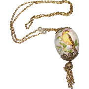 "Hand Painted Bird on Egg 30"" Tassel Chain Necklace"