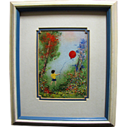 Enamel on Copper Painting, Boy with Balloon by Listed Artist Louis Cardin