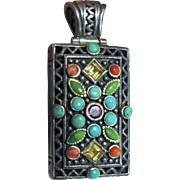 Ornate Sterling Filigree Pendant w/ Coral, Turquoise & Gemstones, 34 Grams