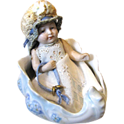 Antique German All-bisque Doll In Porcelain Shell Bed