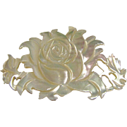 """Delicate Mother of Pearl 2"""" Carved Rose Pin"""