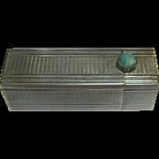 Elegant Machine Cut Art Deco 800 Silver Lipstick Case