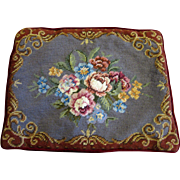 Classic Wool Needlepoint Rose Bouquet Pillow Cover