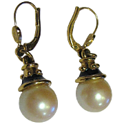 Elegant Vintage Gold Tone Glass Pearl Drop Earrings