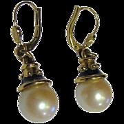 Elegant Vintage Gold Tone Glass Pearl Drop Earrings