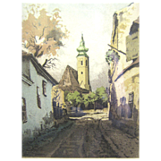 Signed Hand Colored Etching of Eastern European or Russian Street Scene