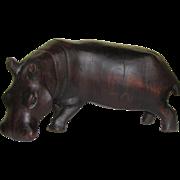 Large Vintage Hand Carved Hardwood Hippo Art Sculpture from Africa