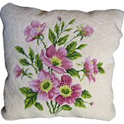 Pretty Wild Rose Design Wool Needlepoint Small Pillow