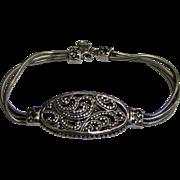 Beautiful Sterling Filigree & Triple Snake Chain Designer Bracelet, 20 Grams
