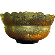 Exquisite Signed Persian Qajar Engraved Brass Bowl