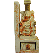 60's Faux Marble Chinese Emperor on Dragon Throne Bookend, Desk Accessory