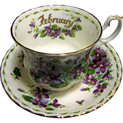 "Royal Albert Flower of the Month ""February Violet"" Cup & Saucer"