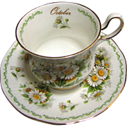 "Rosina China Queen's Special Flowers ""October Daisy"" Cup & Saucer"