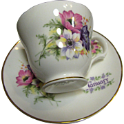 Crown Trent English Bone China Flower of the Month January Cup & Saucer