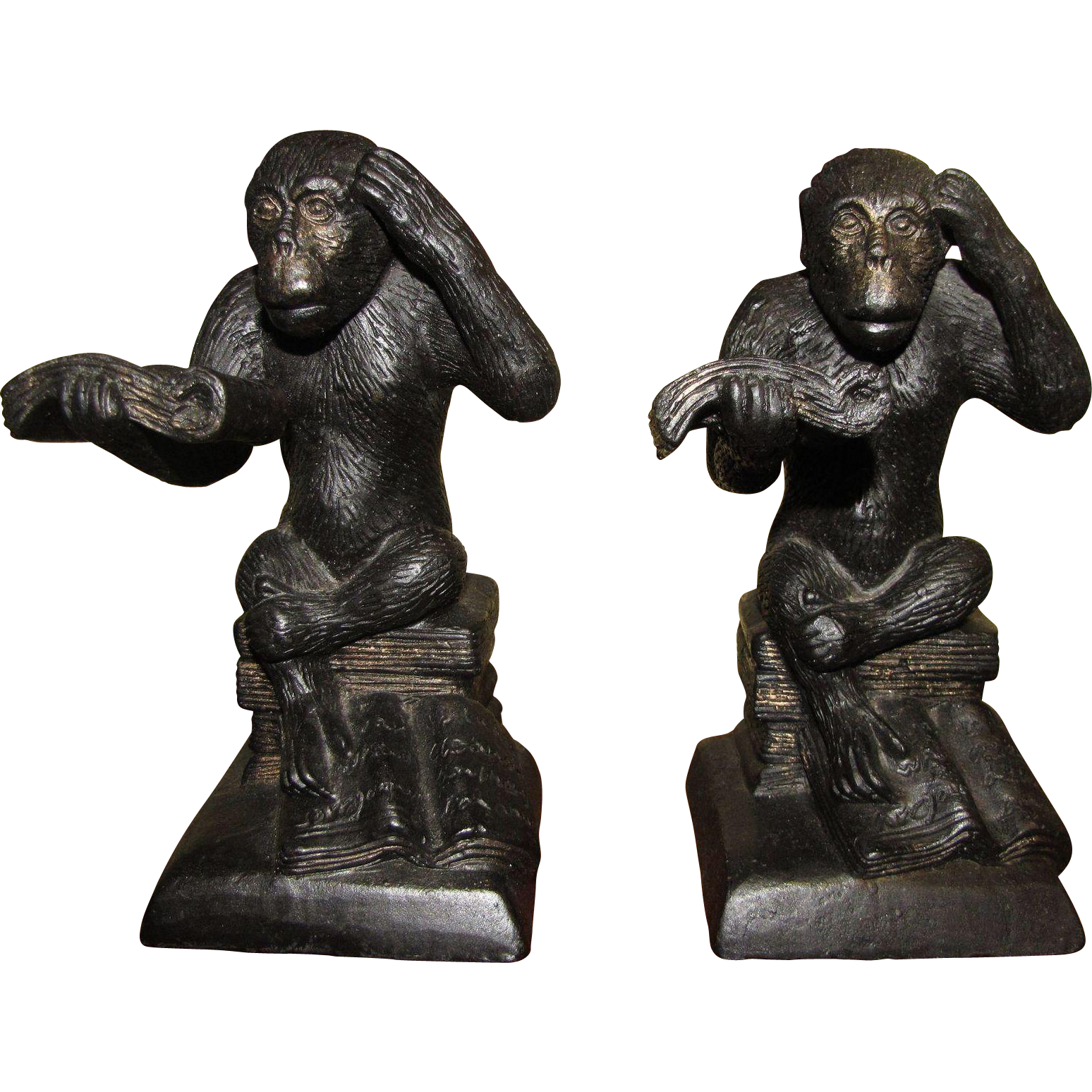 Harris amusing pair of cast metal reading monkey bookends sturdy and from faywrayantiques on - Sturdy bookends ...