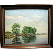 Vintage Unsigned Painting of a Southern Water Margin with Trees