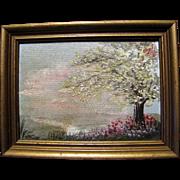 Harris, Miniature Vintage Impressionist Oil Painting of Tree in Rural Landscape