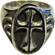 Vintage Sterling Biker Ring, Bold Cross Design, Size 10, Heavy @ 28 Grams